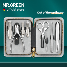 MR.GREEN Manicure Set With Morandi Grey Top-Grade Full Grain Cow Leather Packaging Nail Clipper Kits Perfect Gift Friends Family
