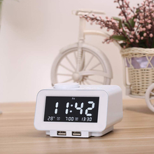 Модные часы-будильник Альбумин человека сывороточный радио-fm-радио, Bluetooth, Dual USB Порты и разъёмы для зарядки, Температура Дисплей, двойные сигналы, 5 уровней Яркость диммер