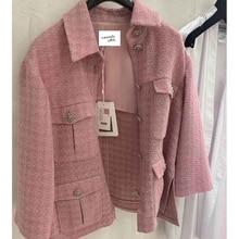 ماكياج 2020 المدرج النساء سترة تويد واحدة الصدر الوردي منقوشة جيب معطف قصير نسج جاكيتات أنيقة مكتب الملابس