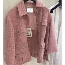 Cosmicchic 2020 Runway damska kurtka tweedowa pojedyncze łuszcz różowy Plaid kieszeń krótki płaszcz splot kurtki eleganckie ubrania biurowe