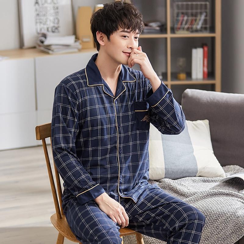 L-3XL Men Pajamas Set Plaid Sleepwear Cotton Nightwear Long Sleeved Male Sleep Clothing Plus Size Nighties Autumn Homewear