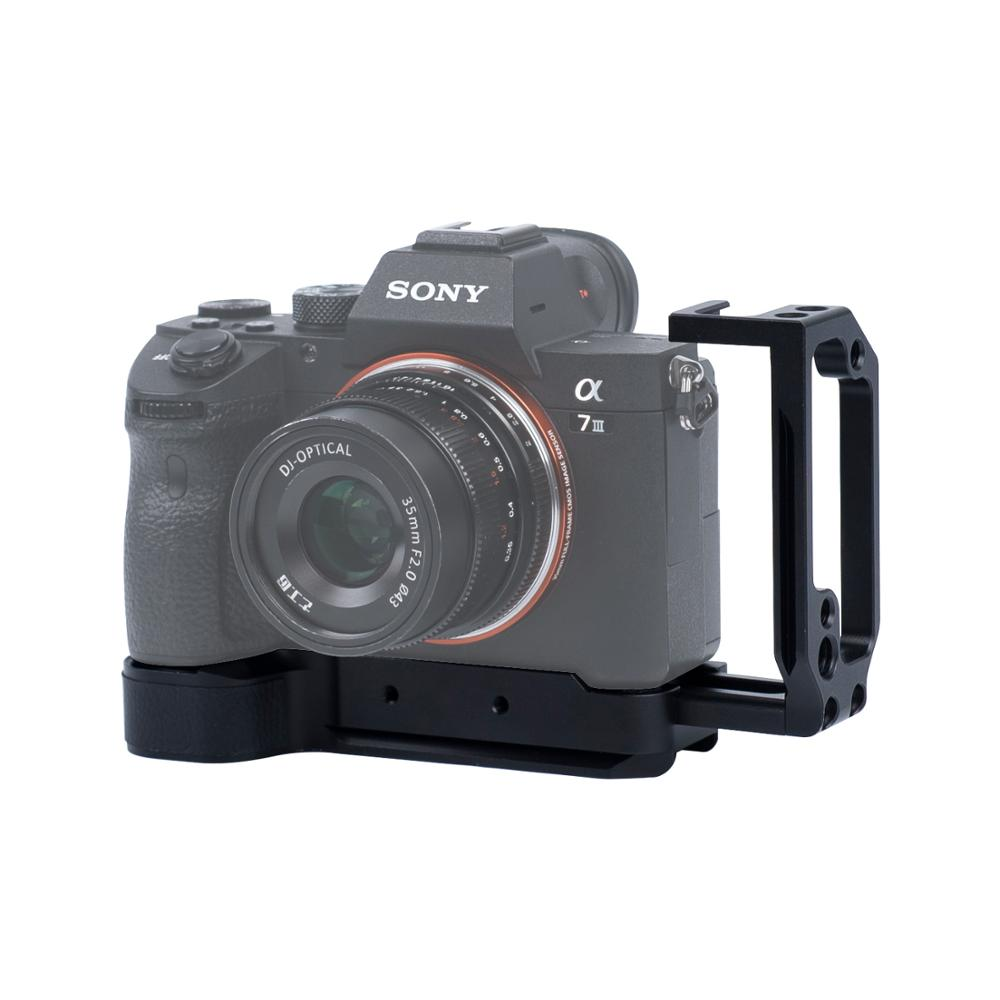 Caméra L support l-forme plaque pour Sony A7 III A7 R III A7 M III avec Arca Swiss plaque à dégagement rapide en alliage d'aluminium noir mat