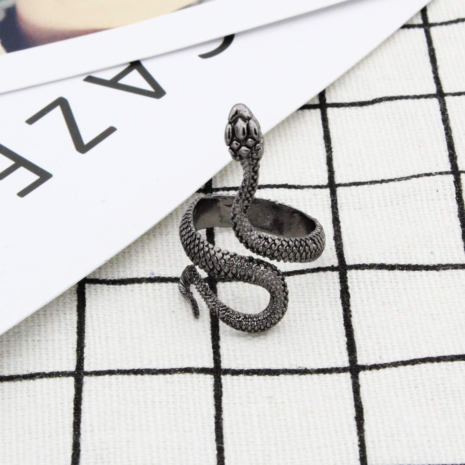Punk Animal Ring Gothic Black Silver Metal Snake Rings For Women Men Night Club Unisex Adjustable Anillos Jewelry Drop Shipping in Rings from Jewelry Accessories