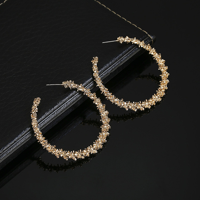 LATS 2020 New Fashion Hoop Earrings With Rhinestone Circle Earring Simple Earrings Big Circle Gold Color Loop Earrings For Women