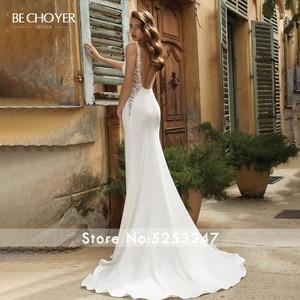 Image 2 - Vestido de Noiva Sexy zroszony satynowa suknia ślubna dekolt bez rękawów Backless syrenka BECHOYER V152 dostosowana suknia ślubna