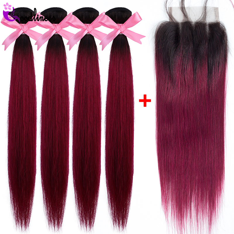 Peruvian Hair Bundles With Closure 1b Burgundy Straight Hair Ombre Bundles With Closure 99j Red Remy Human Hair Weave 5Pcs/Lot