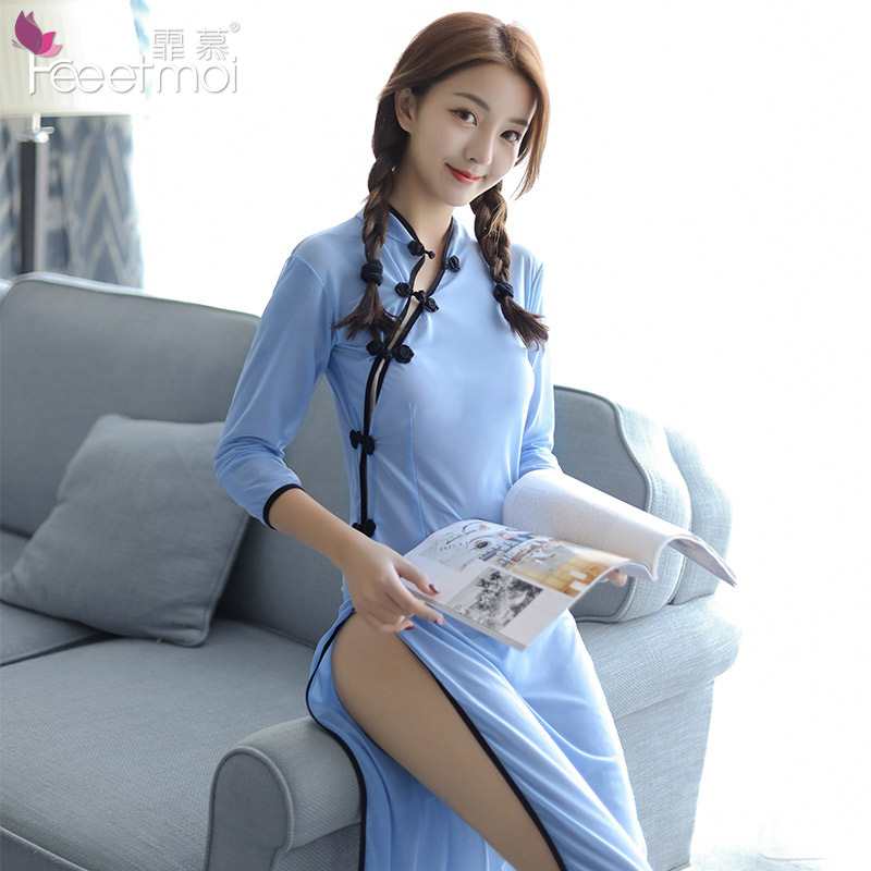 High-end Perspective Long Chinese Cheongsam Woman Erotic Lingerie Dress Side Split Button Chinese Retro Student Uniform Cosplay