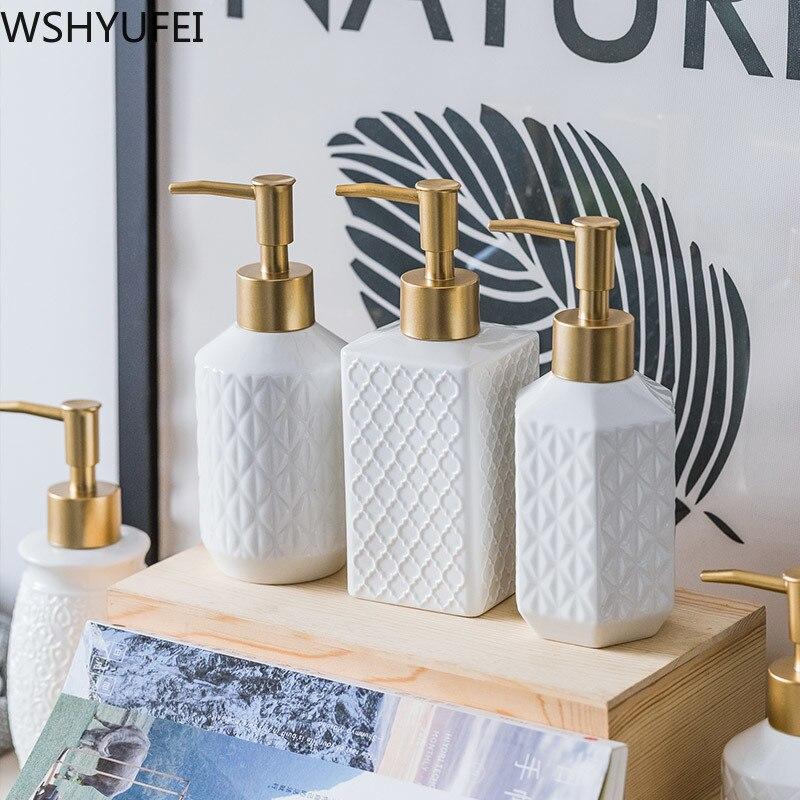 Ceramic Hand Lotion Dispenser Hotel Press Soap Bottle Home Shampoo Empty Bottle Shower Bathroom Accessories Detergent Dispensers