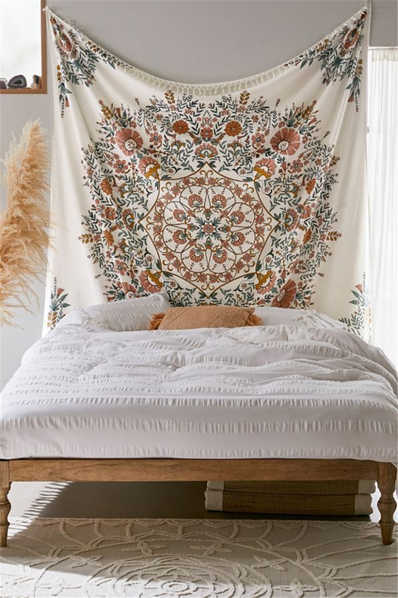 Hippie Wall Tapestry Mandala Indian Bohemian Decor Floral Tassel Wall Hanging Tapestry Wall Cloth Fabric Mandala Boho Wall Carpe