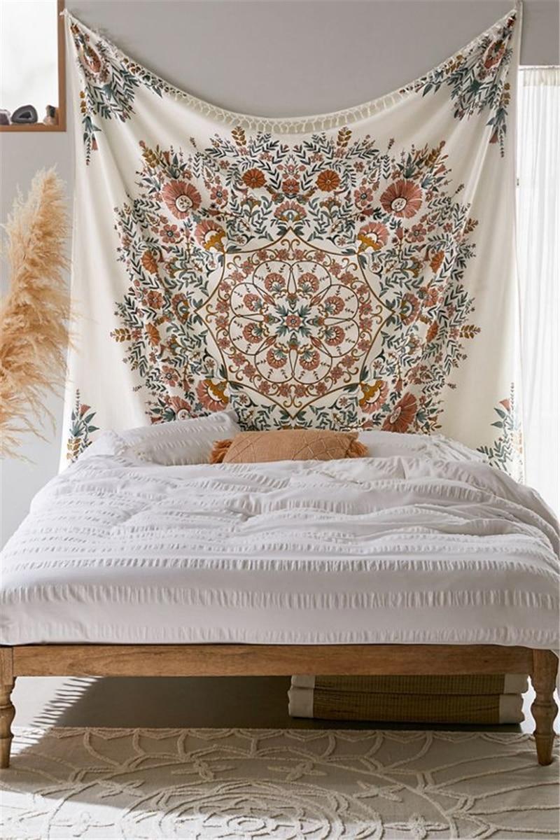 Hippie Wall Tapestry Mandala Indian Bohemian Decor Floral Tassel Wall Hanging Tapestry Wall Cloth Fabric Mandala Boho Wall Carpe