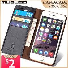 MUSUBOหนังแท้โทรศัพท์กรณีสำหรับiPhone 5 5S SE 8 Plus Xs XRกระเป๋าสตางค์iphone 7 Plus Card Slot Flip Capa