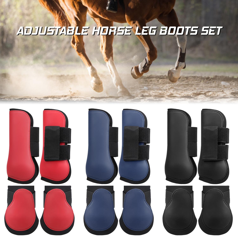 Adjustable Horse Riding Leg Boots Set Equine Front Leg Guard Hind Boots Neoprene Horse Hock Protectors Equestrian Equipment