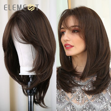 Element Medium Length Synthetic Straight Natural Brown Wigs with Side Bangs Heat Resistant Party Wigs for White/Black Women