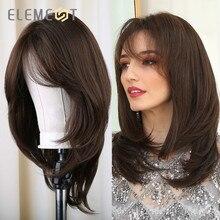 Peruca sintética, peruca de comprimento médio sintética natural lisa com franja lateral resistente ao calor para mulheres brancas/pretas