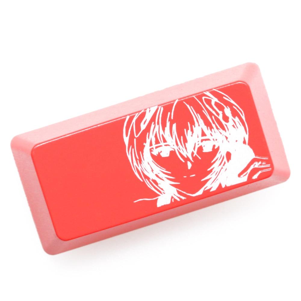Novelty Shine Through Keycap ABS Etched Shine-Through EVA Asuka Ayanami Rei Ikari Shinji Black Red Enter Backspace For Keyboard