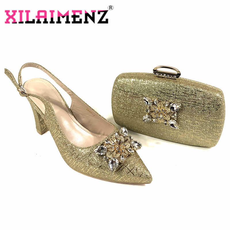 Hohe Qualität 2020 Frühling Design Afrikanische Damen Party Passenden Schuhe und Tasche Set in Goldene Farbe Italienische Frauen Schuh und und Tasche