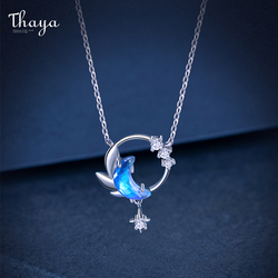 Thaya Design 45cm Moon night Necklace Pendant Crystal Zircon Silver Light Blue Necklace For Women Elegant Fine Jewelry Gift