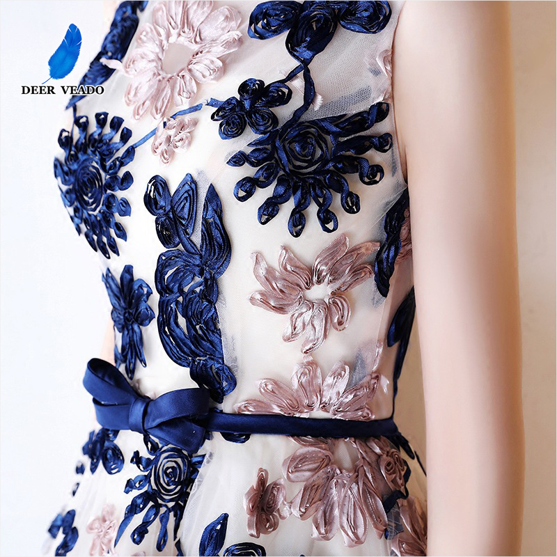 DEERVEADO YM307 Embroidery Short Prom Dresses 2019 Sexy Open Back Lace Up Party Dresses Prom Gown Vestido De Festa Curto