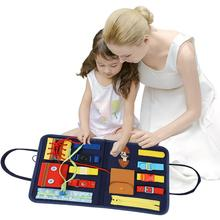 Baby Montessori Busy Board Toys Kids Early Education Skills Training Cloth Puzzle Board Wear Clothes Game Teaching Aids For Baby