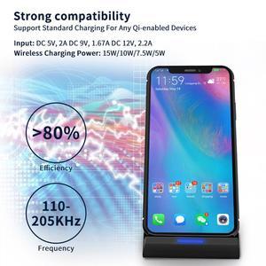 Image 3 - Беспроводное зарядное устройство FDGAO 15 Вт с USB кабелем типа C 10 Вт для iPhone 11 Pro XR XS Max X 8 QC 3,0, подставка для быстрой зарядки для Samsung S10 S9