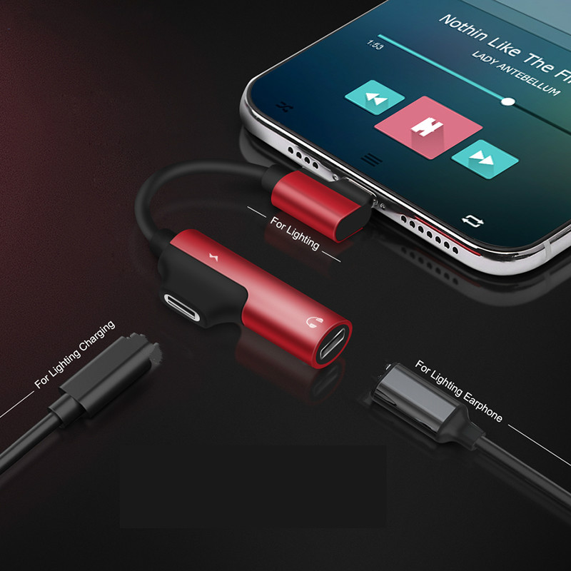 <font><b>2</b></font> <font><b>in</b></font> <font><b>1</b></font> Connector Audio Charging Dual Lightning Adapter Splitter <font><b>Cable</b></font> For <font><b>IPhone</b></font> 11 Pro X XS Max Earphone Changer Converter image