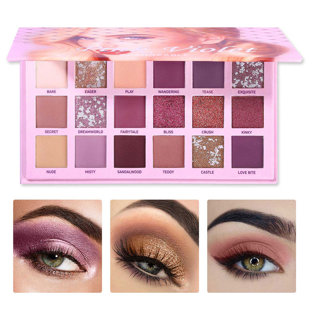Changeble ピンク紫アイシャドウパレットシマーマットメタリック着色アイシャドウパウダーメークアップナチュラルキット