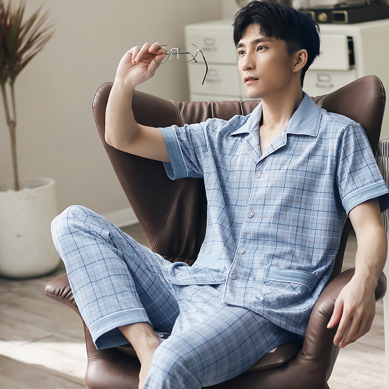Summer Pajamas Men Short Sleeves Button-Down Cotton Pijamas Set For Men Plaid Nightwear PJs Set 2020 Pyjama Suits For Men