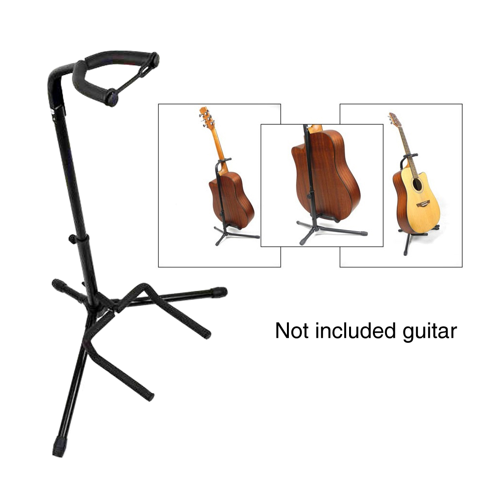 Black Collapsible Iron Universal Vertical Type Tripod Guitar Stand With Protective Velveteen Rubber Padding Electric Acoustic