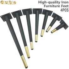 [Onubao] 4PCS Wrought Iron Cone Furniture Legs High-strength Sofa Leg Kitchen Cabinet Table Leg Furniture Feet 12-30cm