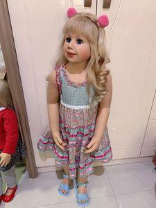 Image 3 - 100CM Hard vinyl toddler princess blonde girl doll toy like real 3 year old size child clothing photo model dress up doll