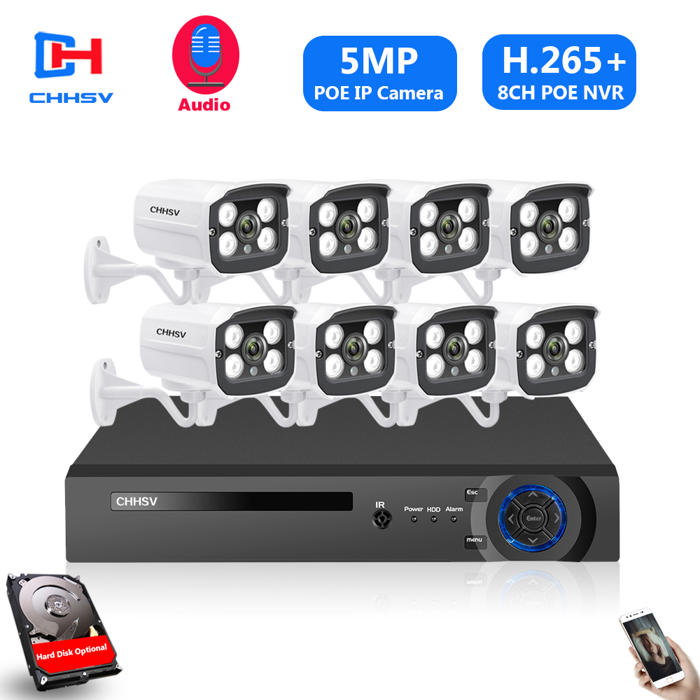 H.265 4CH 8Ch 16CH 5MP POE NVR CCTV Camera System 5MP POE IP Camera 2560*1944 Outdoor Waterproof Video Security Surveillance Kit