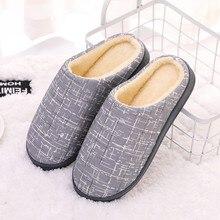 Мужские зимние теплые домашние тапочки в мелкую клетку; нескользящая обувь для влюбленных пар; женская обувь без шнуровки; мягкая домашняя обувь на плоской подошве; удобные женские тапочки размера плюс