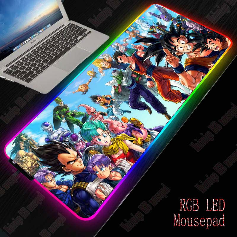 Mairuige Anime Dragon Ball Z Gaming LED RGB Large Gamer Mousepad USB Lighting Backlit Rainbow Computer Mat  Keyboard Desk Pad 1