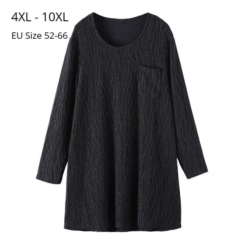 Plus Size 10XL 8XL 6XL 4XL Women Autumn Long Sleeve T Shirts Crew Neck Shinny Trendy Clothes For Women Femme Basic Tee Shirts