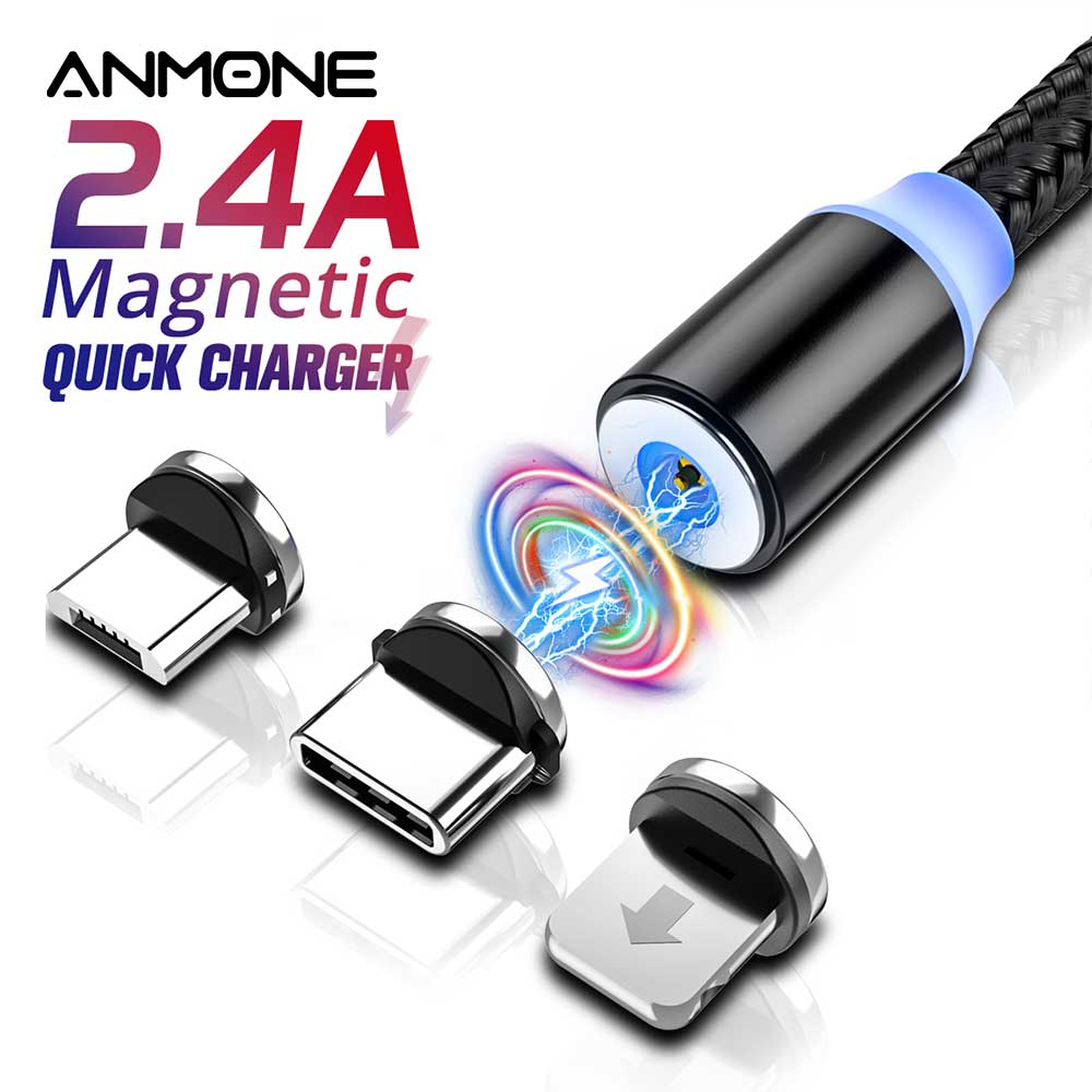 ANMONE Magnetic Micro USB Type C Cable Magnetic Charge For xiaomi redmi note7 Android for Umidigi F2 USB C Charging Charger Cord