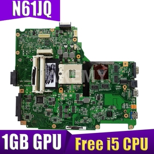 Материнская плата для ноутбука ASUS N61J N61JA N61JQ N61JA материнская плата для ноутбука, материнская плата W/ 1GB GPU Free i5 CPU