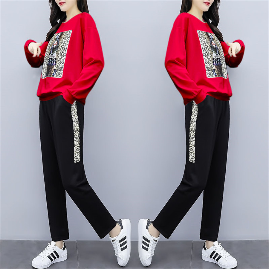 Tracksuits Women Set 2 Piece Set Co-ord Set Outfits Pants Suits And Top Plus Size Large 2019 Autumn Long Sleeves