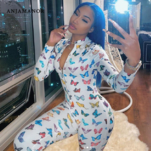 ANJAMANOR Butterfly Print Sexy Long Sleeve Bodycon Jumpsuits for Women 2020 Club
