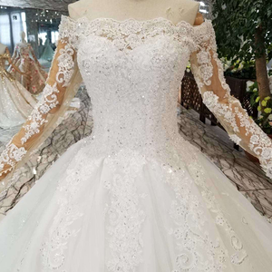 Image 4 - HTL108 bohemian wedding dress like white off the shoulder boat neck long tulle appliques sleeves розовое платье