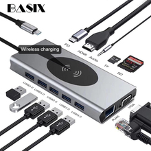USB C HUB 13 IN 1 Type c Adapter USB C to HDMI 3.5mm Jack Audio SD TF HDMI VGA RJ45 USB3.0 Type c Docking station for MacbookPRO