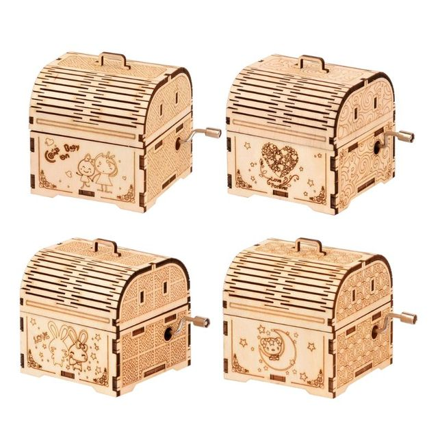 DIY Hand Crank Music Box Model 3D Wooden Puzzle Toy Self Assembly Wood Craft Kit adult kids toy Parent-child interactive game