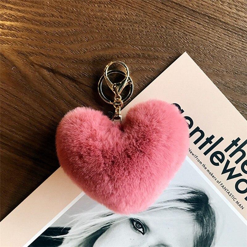10CM Cute Fluffy Heart Keychain Women Pompom Faux Rex Rabbit Fur  Key Chain Girl Bag Charms Hang Car Key Ring Jewelry Accessorie