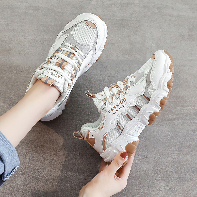 Hip Hop Women's White Chunky Sneakers Tenis Women Casual Platform Shoes Mesh Breathable Dad Shoes Zapatos Mujer Size 35-40