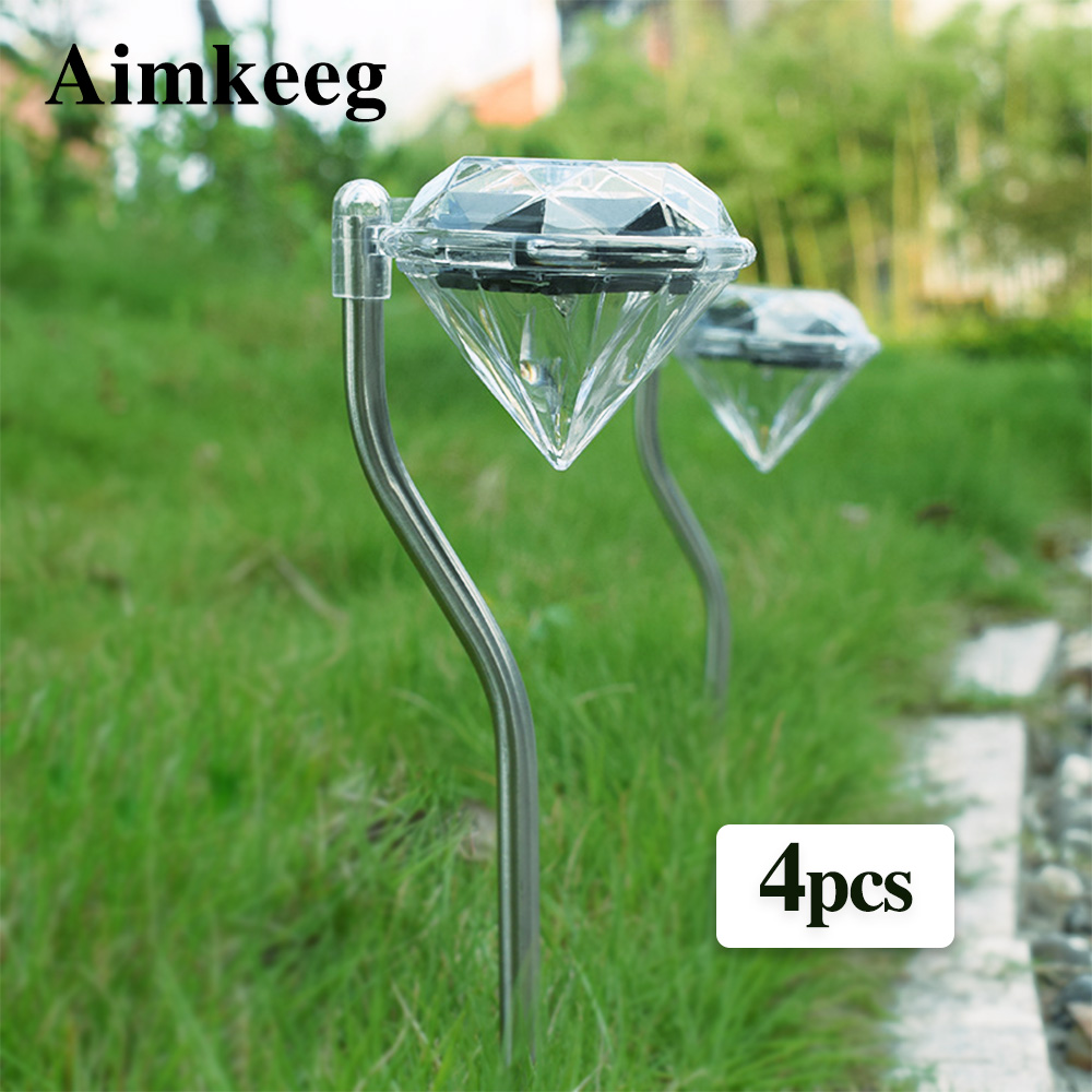 4PCS LED Solar Garden Lights Outdoor Waterproof Lawn Lamp Colorful Diamonds Courtyard Deco Light For Pathway Flowerpot Trail