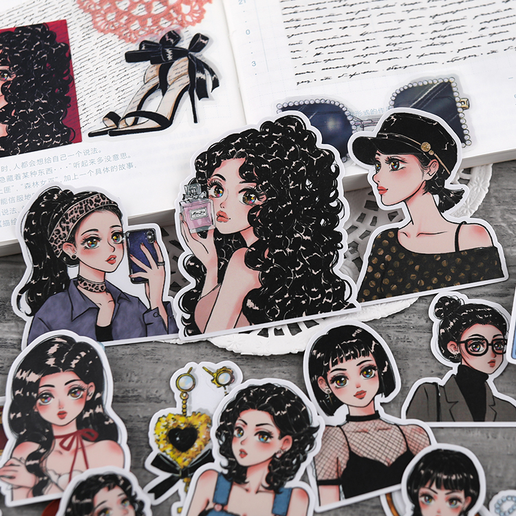 Fashion Girl Paper Stickers Crafts And Scrapbooking Stickers Book Decorative Sticker DIY Stationery