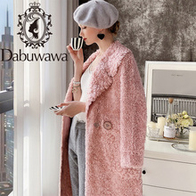 Dabuwawa Winter Women Mix Sheep Fur Coat Luxury Long Plush Fur Coat Loose Lapel OverCoat Thick Warm Plus Size Female DT1DFR010