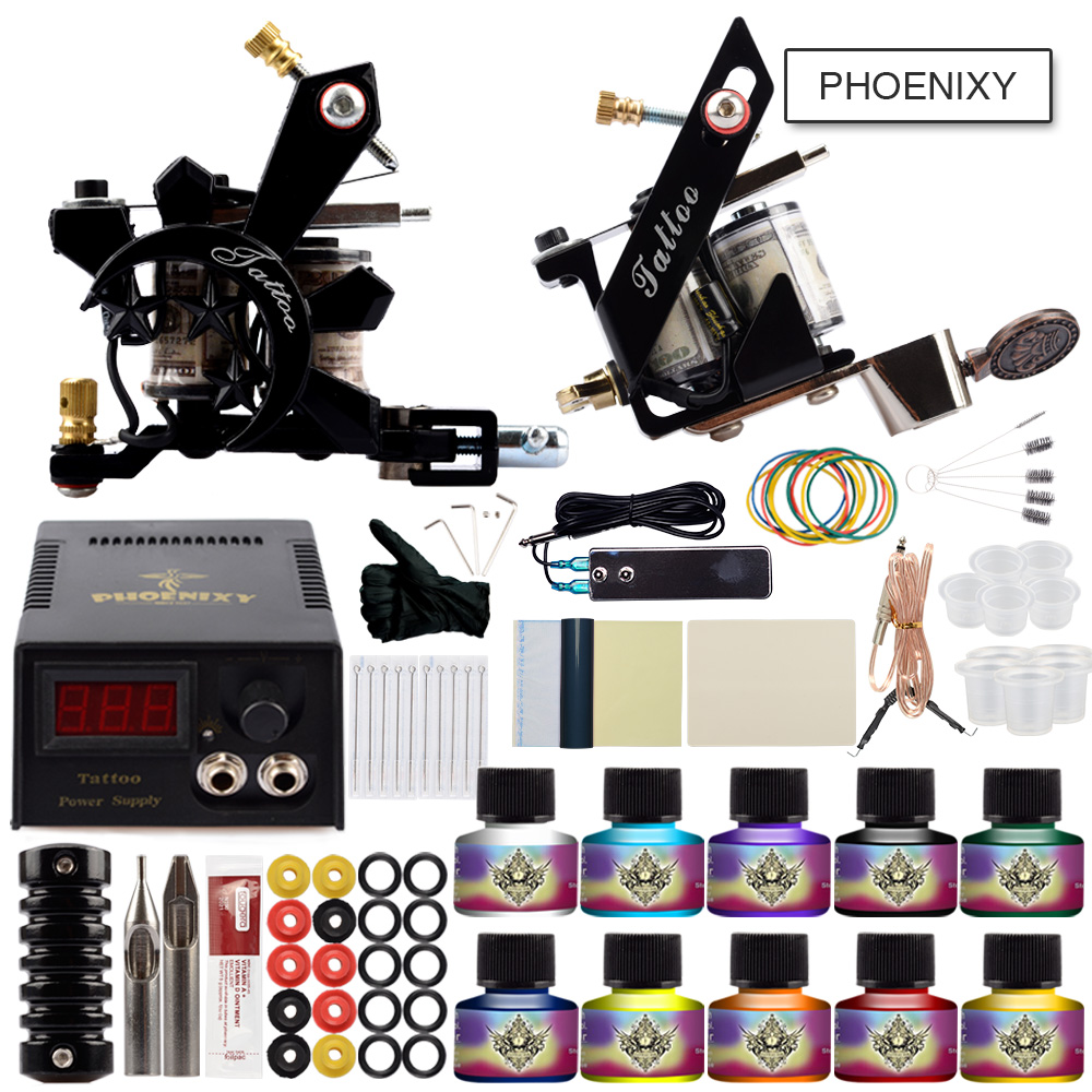Professional Tattoo Kit Two Tattoo Machine Guns Power Supply 20 Colors Pigment Inks Sets Body Art Permanent Makeup Tattoo Set