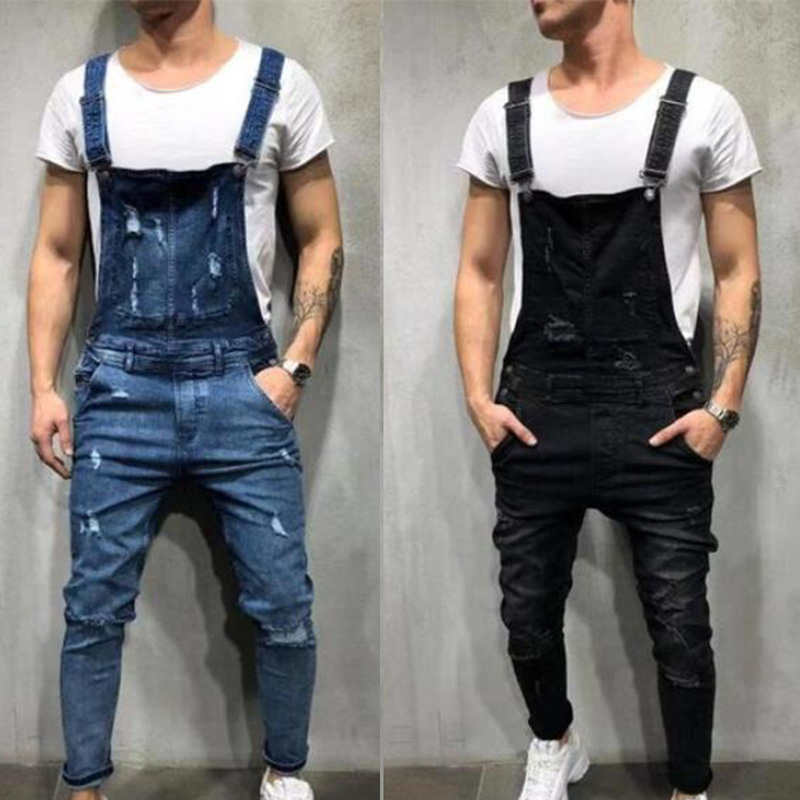 CHANWELL Men's Cool Overalls Casual Denim Working Bib Pants Jumpsuits Rompers Trousers For Men 2019 Mens Jeans Pencil Pants