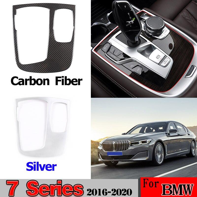 ABS Chrome/Carbon Fiber For BMW 7 Series G11 G12 2016-2020 Car Interior Central Control Multimedia Knob Frame Trim Accessories
