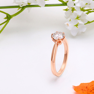Image 3 - Transgems 14K Rose Gold Flower Shape Center 1ct 6.5mm F Color Solitaire Moissanite Engagement Ring for Women Fashion Jewelry